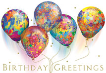 Painted Balloons Birthday Greeting Cards